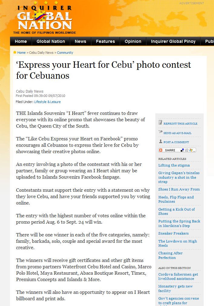 The Islands Group | Express your Heart for Cebu' photo contest for